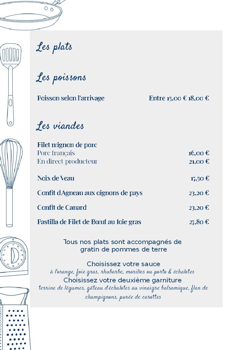 menu mariage 2018
